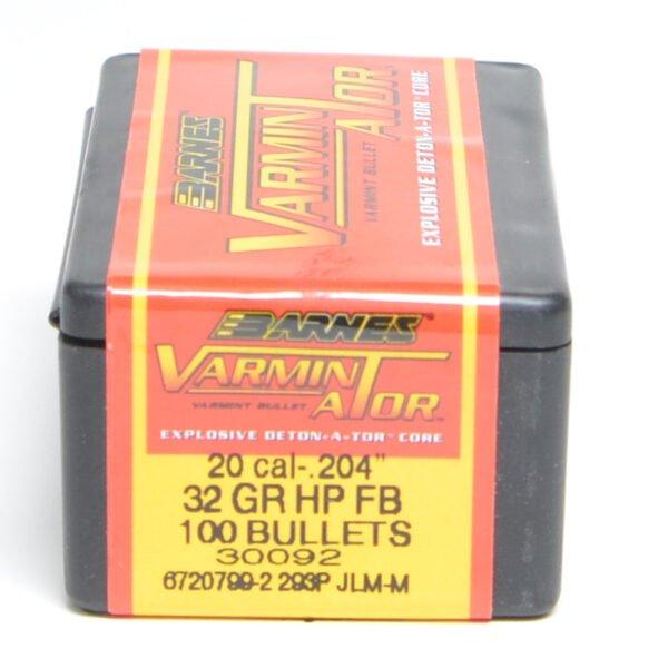 Barnes .204 / 20 32 Grain Varminator Hollow Point Flat Base Bullet (100)