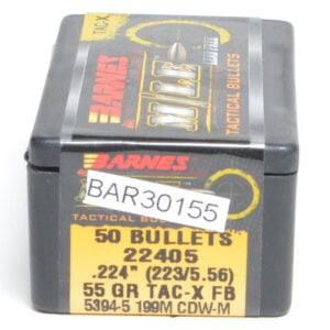 Barnes .224 / 22 55 Grain Tactical X Flat Base Bullet (50)