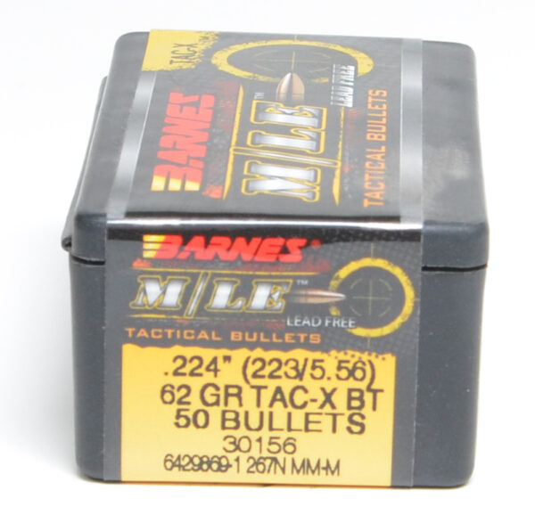 Barnes .224 / 22 62 Grain Tactical X Boat Tail Bullet (50)