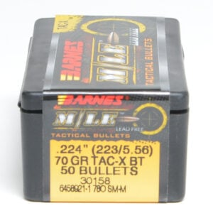 Barnes .224 / 22 70 Grain Tactical X Boat Tail Bullet (50)