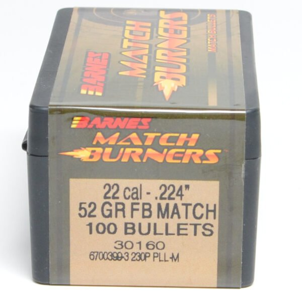 Barnes .224 / 22 52 Grain Match Burner Flat Base Bullet (100)