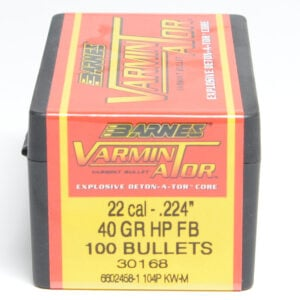 Barnes .224 / 22 40 Grain Varminator Hollow Point Flat Base Bullet (100)