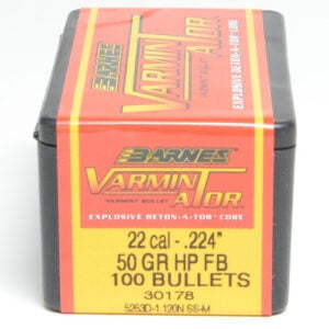 Barnes .224 / 22 50 Grain Varminator Hollow Point Flat Base Bullet (100)