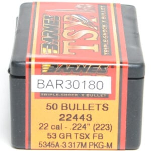 Barnes .224 / 22 53 Grain Triple-Shock X Flat Base Bullet (50)