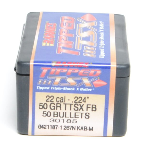 Barnes .224 / 22 50 Grain Tipped Triple-Shock X Flat Base Bullet (50)
