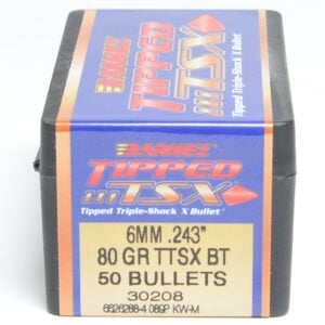 Barnes .243 / 6mm 80 Grain Tipped Triple-Shock X Boat Tail Bullet (50)