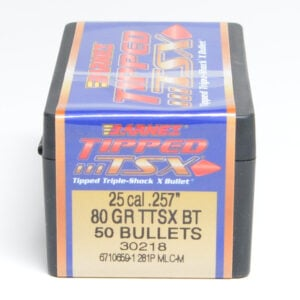 Barnes .257 / 257 80 Grain Tipped Triple-Shock X Boat Tail Bullet (50)