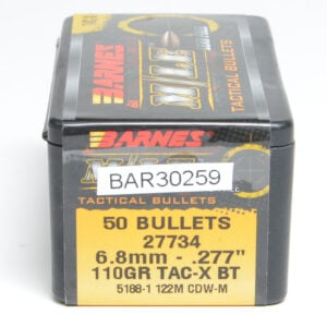 Barnes .277 / 6.8mm 110 Grain Tactical X Boat Tail Bullet (50)