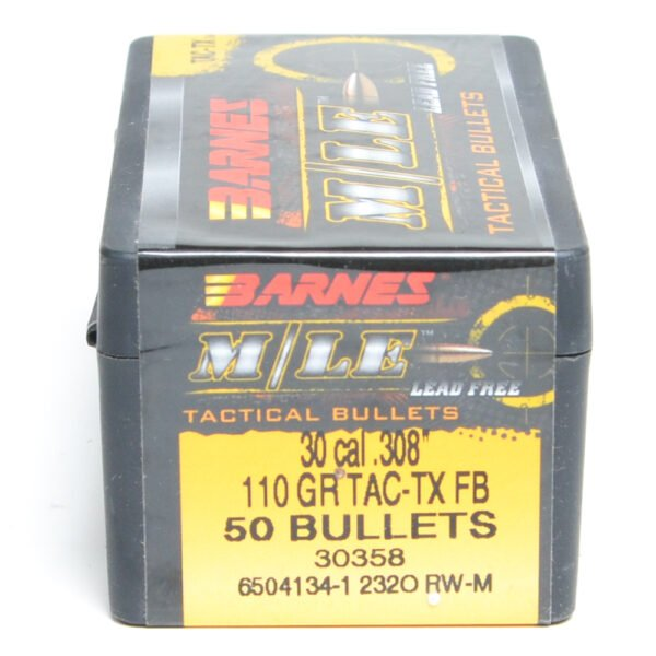 Barnes .308 / 30 110 Grain Tactical Tipped X Flat Base Bullet (50)