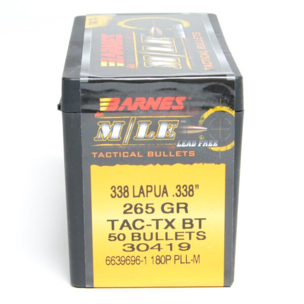 Barnes .338 / 338 265 Grain Tactical Tipped X-Boat Tail Bullet (50)