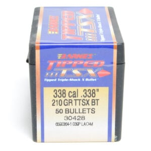 Barnes .338 / 338 210 Grain Tipped Triple-Shock X Boat Tail Bullet (50)