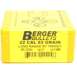 Berger .224 / 22 82 Grain Long Range Match Target Boat Tail (100)