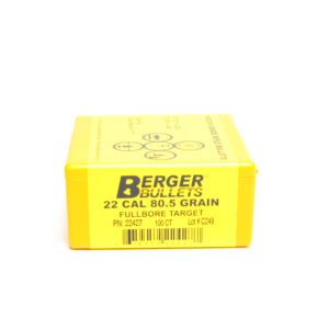 Berger .224 / 22 80.5 Grain Target Full Bore Hollow Point Boat Tail (100)