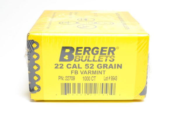 Berger .224 / 22 52 Grain Match Varmint Flat Base (1000)