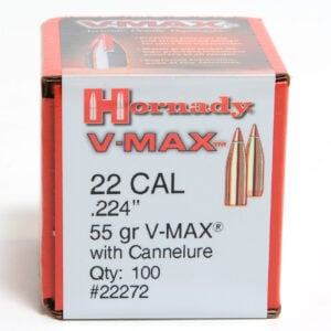 Hornady .224 / 22 55 Grain V-Max With Cannelure (100)