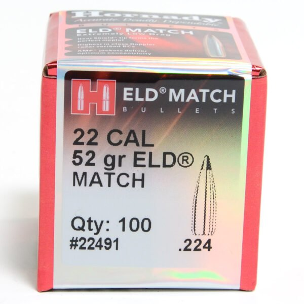 Hornady .224 / 22 52 Grain ELD-M (Extremely Low Drag Match) (100)