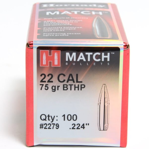 Hornady .224 / 22 75 Grain Hollow Point Boat Tail Match (100)