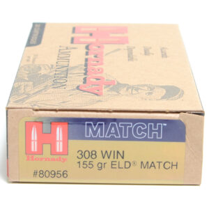 Hornady Ammo 308 Win 155 Grain ELD-M (Extremly Low Drag) Match (20)