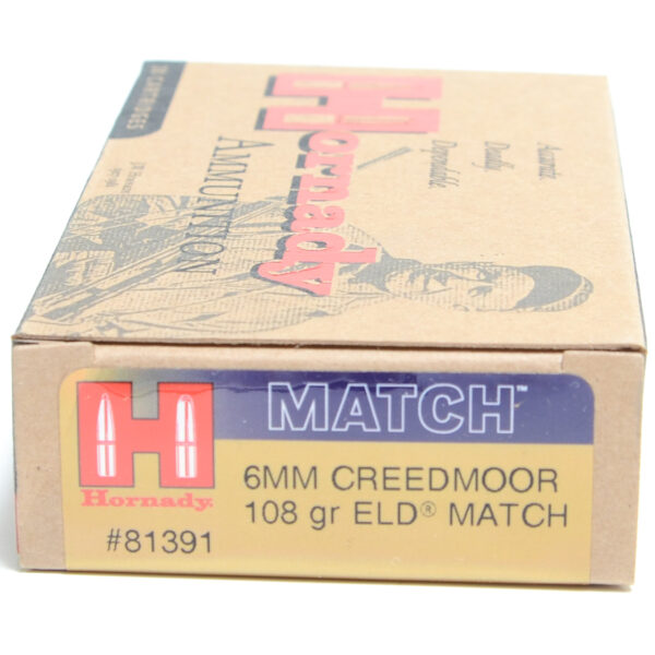 Hornady Ammo 6mm Creedmoor 108 Grain ELD-M (Extremly Low Drag) Match (20)