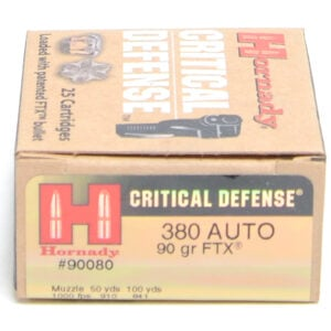 Hornady Ammo 380 Auto 90 Grain FTX (Flex Tip) Critical Defense (25)