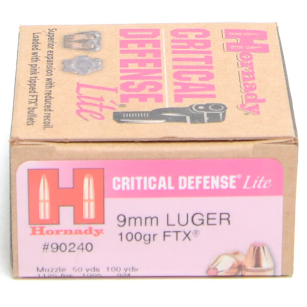 Hornady Ammo 9mm Luger Lite 100 Grain FTX (Flex Tip) Critical Defense Lite 10/Cs