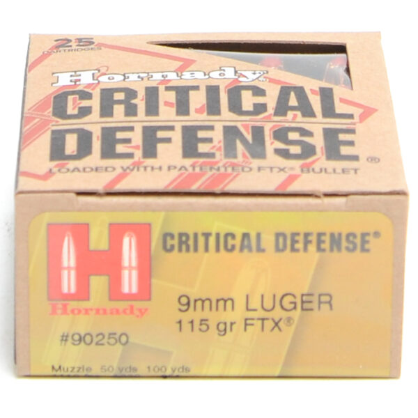 Hornady Ammo 9mm Luger 115 Grain FTX (Flex Tip) Critical Defense (25)