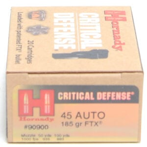Hornady Ammo 45 Auto 185 Grain FTX (Flex Tip) Critical Defense (20)