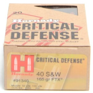 Hornady Ammo 40 S&W 165 Grain FTX (Flex Tip) Critical Defense (20)