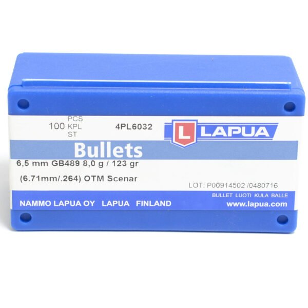 Lapua .264 / 6.5mm 123 Grain Hollow Point Boat Tail (100)
