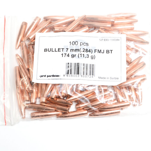 Prvi .284 / 7mm 174 Grain Full Metal Jacket Boat Tail (100)