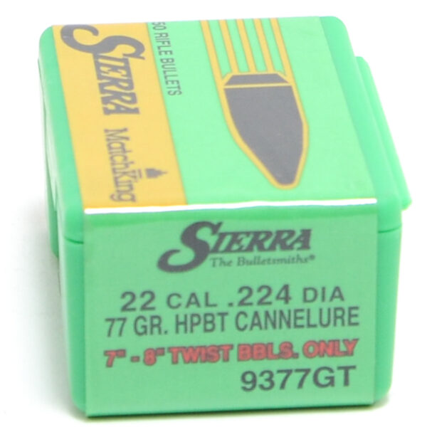 Sierra .224 / 22 77 Grain Hollow Point Boat Tail MatchKing W/C (50)