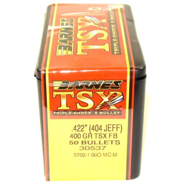 Barnes .423 / 404 Jeffrey 400 Grain Triple-Shock X Flat Base Bullet (50)