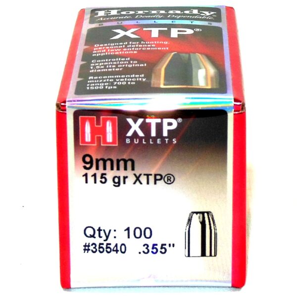 Hornady .355 / 9mm 115 Grain Hollow Point/XTP (eXtreme Terminal Performance) (100)