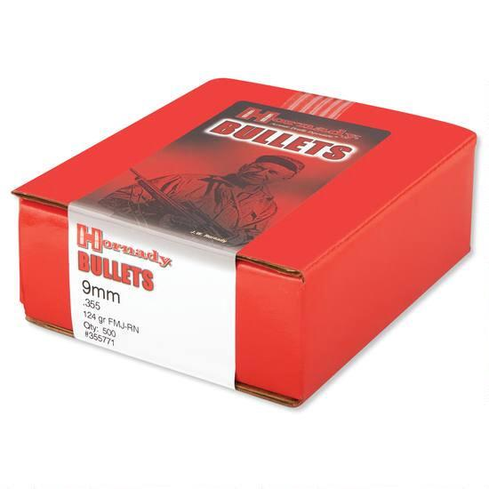 Hornady .355 / 9mm 124 Grain Full Metal Jacket Round Nose (500)