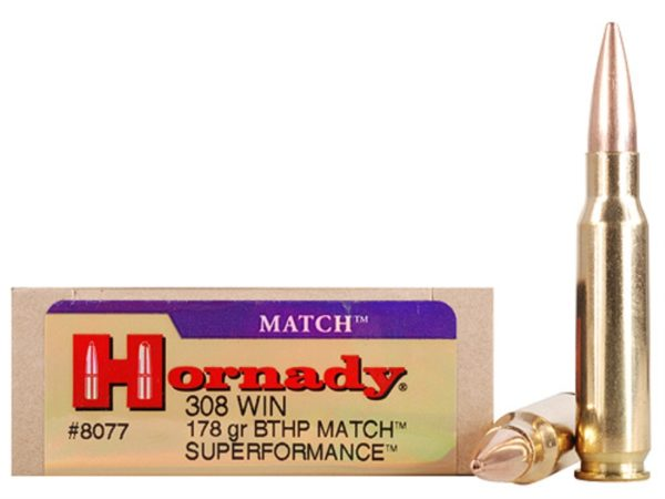 Hornady Ammo 308 Win 178 Grain Hollow Point Boat Tail Match Superformance (20)