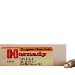 Hornady Ammo 375 H&H 300 Grain DGS (Dangerous Game Solid) Superformance(20)