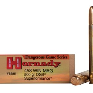 Hornady Ammo 458 Win 500 Grain DGS (Dangerous Game Solid) Superformance (20)