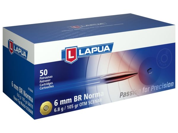Lapua Ammo 6mm Br Norma 105 Grain Hollow Point Boat Tail (50)