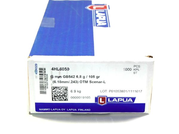 Lapua .243 / 6mm 105 Grain Hollow Point Boat Tail Scenar L (100 (1000)
