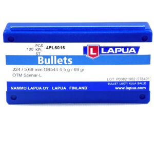 Lapua .224 / 22 69 Grain Hollow Point Boat Tail Scenar-L (100)