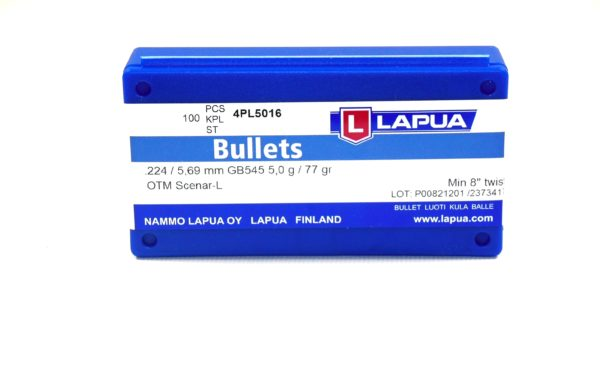 Lapua .224 / 22 77 Grain Hollow Point Boat Tail Scenar-L (100)
