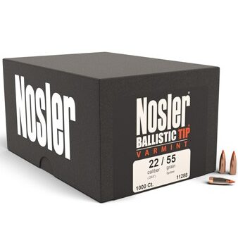 Varmageddon™ 22 Caliber 53gr Tipped Bullet (100ct)Nosler's Varmageddon™ bullets are designed in both Hollow Point and Tipped variants, designed for optimum expansion and flight characteristics. The bullet jacket has been engineered for violent expansion, and the special lead alloy and copper alloy components combine together to create the best Varmint bullet we have to offer. Minimum Velocity: 1600 fps Maximum Velocity: Unlimited Bullet Info