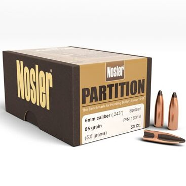 Nosler .243 / 6mm 85 Grain Spitzer Partition (50)