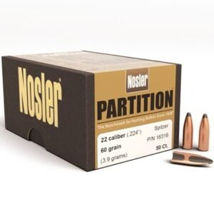 Nosler .224 / 22 60 Grain Spitzer Partition (50)