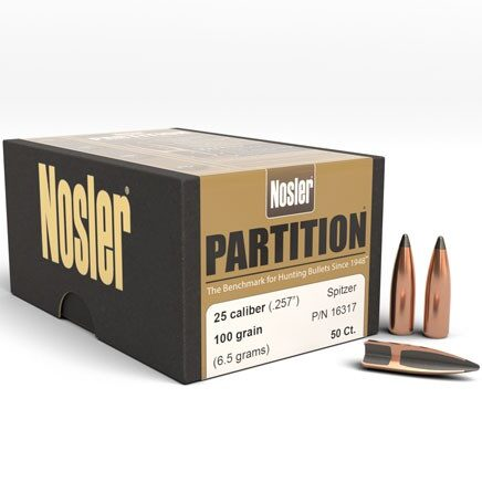 Nosler .257 / 257 100 Grain Spitzer Partition (50)
