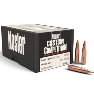 6mm 105gr RDF™ Bullet (100ct.)Nosler's RDF line was designed from the ground up to provide exceptionally high BCs, which create the flattest trajectory and least wind drift possible. The keys to the RDF's outstanding performance are Nosler's meticulously optimized compound ogive and long, drag reducing boattail, which make handloading a snap and create an incredibly sleek form factor. RDF bullets also have the smallest, most consistent meplats of any hollow point match bullet line, so there is no need to point or trim tips.Bullet Info