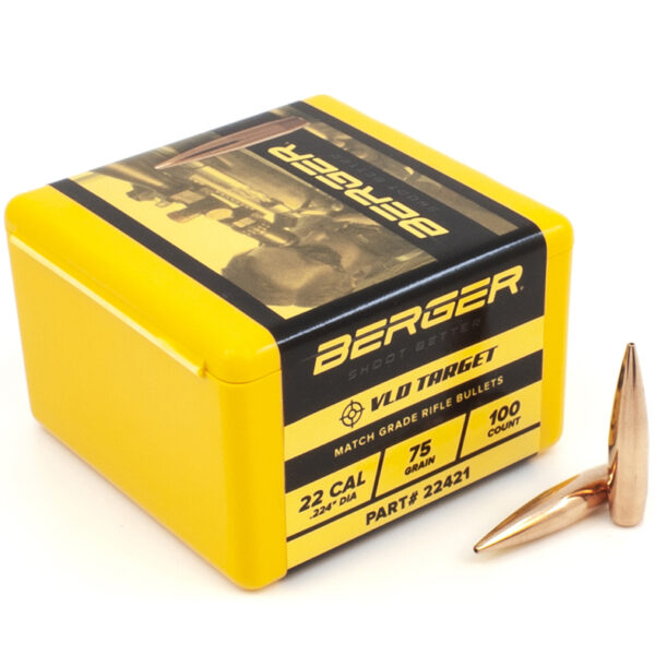 Berger .224 / 22 75 Grain Match Target Very Low Drag (100)