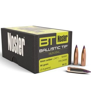 Nosler .243 / 6mm 95 Grain Spitzer Boat Tail (50)