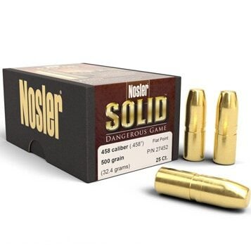 Nosler .458 / 45 500 Grain Flat Point Dangerous Game Solid (25)