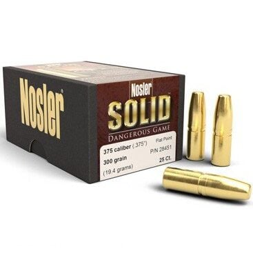 Nosler .375 / 36 300 Grain Flat Point Dangerous Game Solid (25)